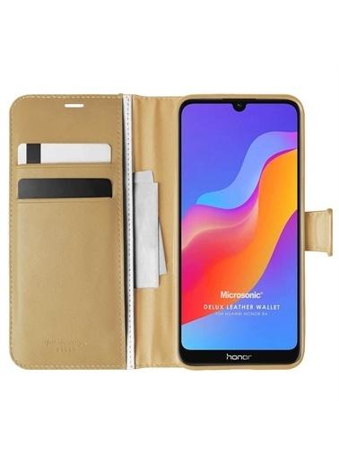 Microsonic Huawei Y6 2019 Kılıf Delux Leather Wallet Gold Altın